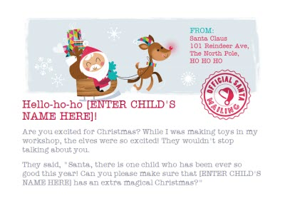 Greeting Cards - A Special Letter For Official Santa Personalised Merry Christmas Card For Child - Image 2