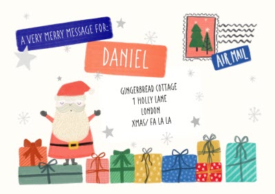 Greeting Cards - North Pole Personalised Airmail Christmas Card - Image 1
